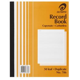 Olympic Record Book No706 200 x 250mm Duplicate Carbonless 50 Leaf #706 No.706