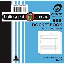 Olympic Docket Book 120 x 125 No.5 50 Leaf Duplicate 140888